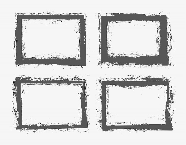 Conjunto de marcos de borde de grunge.