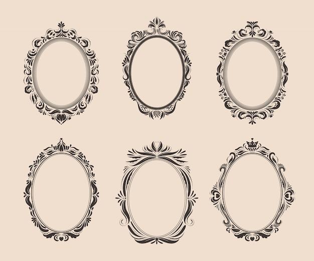 Conjunto de marcos y bordes decorativos ovales vintage. victoriana y barroca.