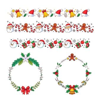 Conjunto de marcos y bordes navideños dibujados a mano