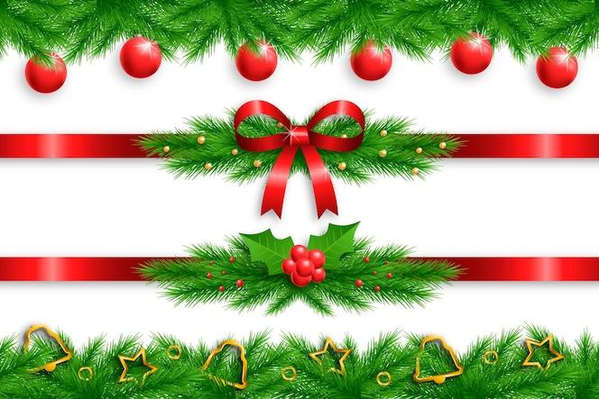 Conjunto de marcos y bordes navideños realistas