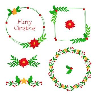 Conjunto de marcos y bordes navideños