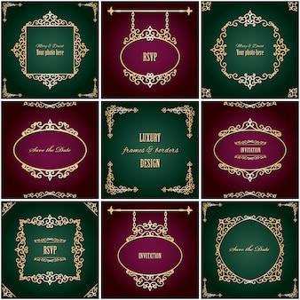 Conjunto de marcos y bordes ovalados dorados vintage