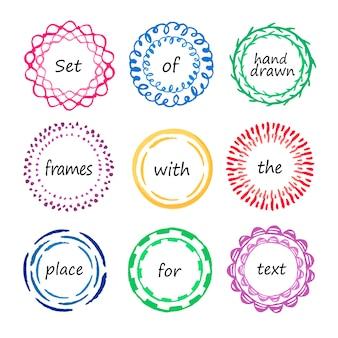 Conjunto de marcos de círculo de colores