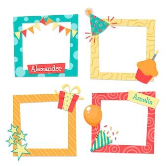 Conjunto de marcos de collage de cumpleaños dibujados a mano