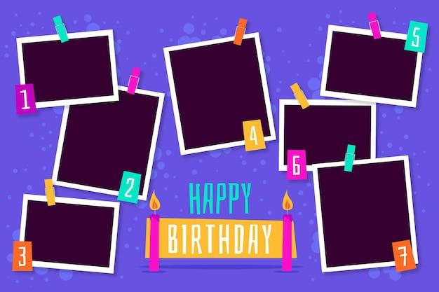 Conjunto de marcos de collage de cumpleaños plano