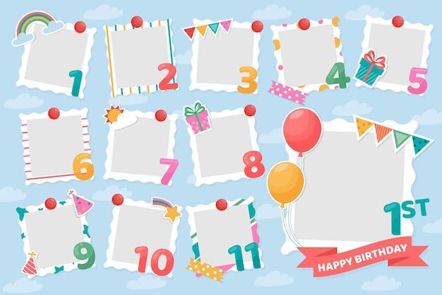 Conjunto de marcos de collage de cumpleaños