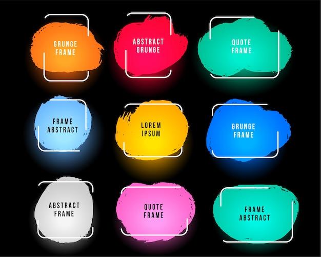 Conjunto de marcos coloridos abstractos grunge de nueve