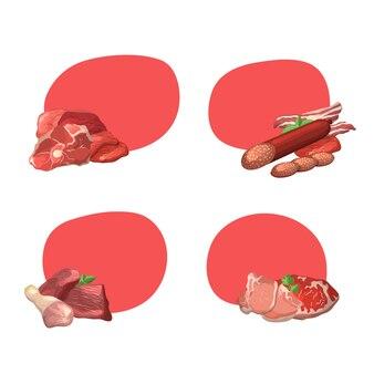 Conjunto de marcos con copyspace con ilustración de piezas de carne de dibujos animados