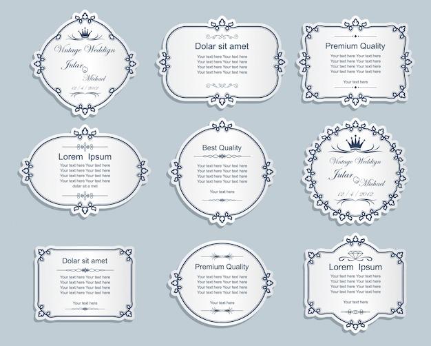Conjunto de marcos con decoración de floritura.