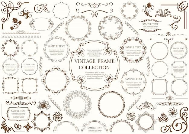 Conjunto de marcos decorativos y bordes aislados en un fondo liso.