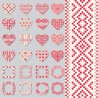 Conjunto de marcos decorativos y corazones en estilo étnico