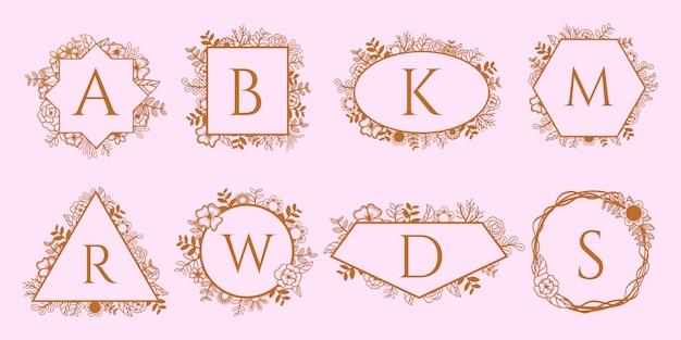 Conjunto de marcos decorativos de oro monograma