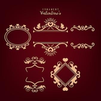 Conjunto de marcos dibujados a mano. elemento de diseño romántico para invitaciones de boda