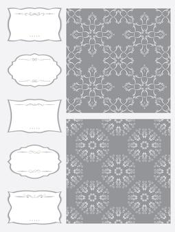Un conjunto de marcos de diferentes formas y tejido sin costuras.