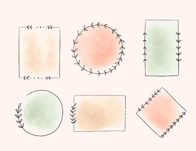 Conjunto de marcos de doodle de acuarela pintados a mano
