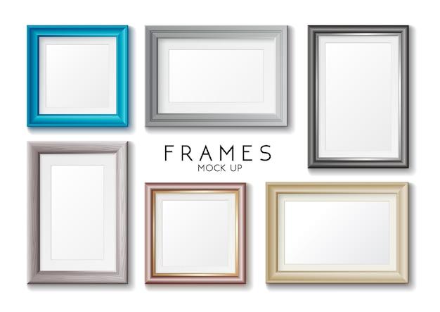 Conjunto de marcos dorados y azules rectangulares realistas, plantilla