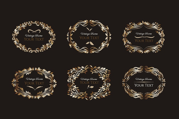 Conjunto de marcos dorados retro