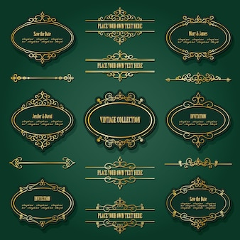 Conjunto de marcos dorados vintage