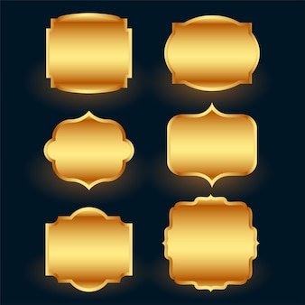 Conjunto de marcos de etiqueta dorada premium