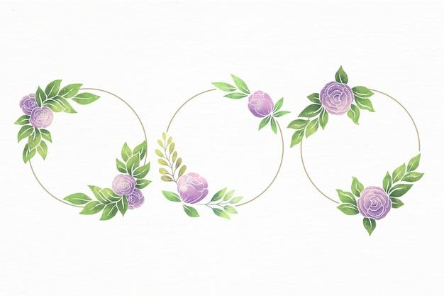 Conjunto de marcos florales de acuarela pintados a mano