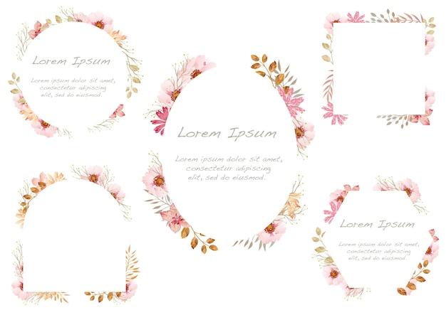 Conjunto de marcos florales acuarelas aislado sobre fondo blanco. .