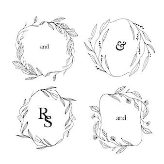 Conjunto de marcos florales dibujados a mano