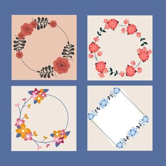 Conjunto de marcos florales vacíos