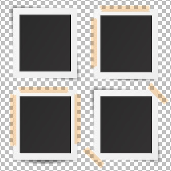 Conjunto de marcos de fotos antiguos realistas. diseño de foto retro de plantilla.