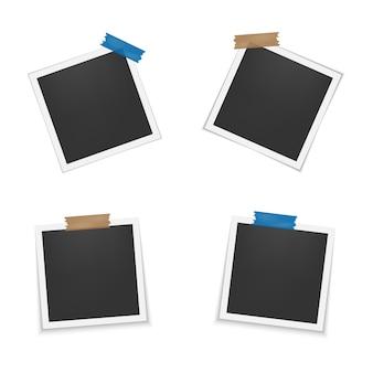Conjunto de marcos de fotos en blanco con sombra.