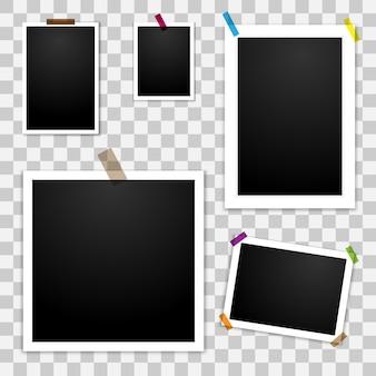 Conjunto de marcos de fotos en blanco