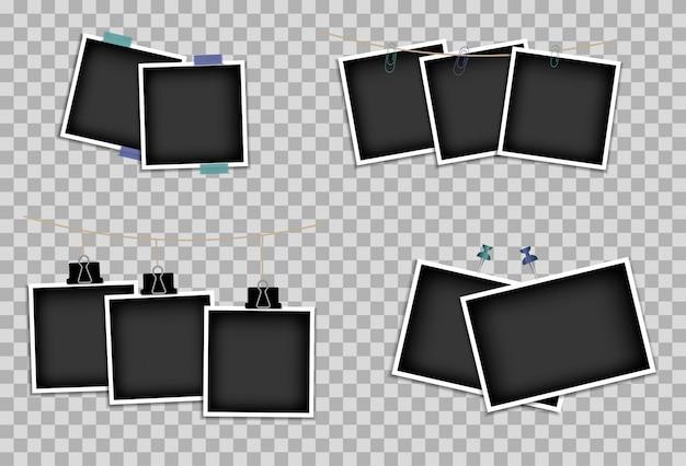 Conjunto de marcos de fotos en cinta adhesiva, alfileres y remaches. plantilla de diseño de foto. ilustración. aislado en un fondo transparente
