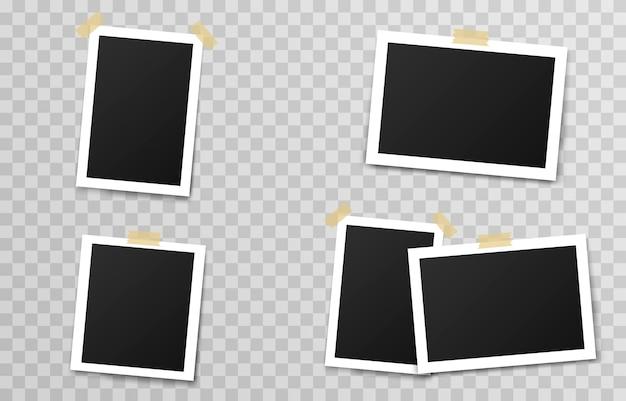Conjunto de marcos de fotos con cinta adhesiva