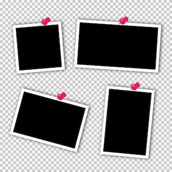 Conjunto de marcos de fotos cuadrados en cinta adhesiva, alfileres.
