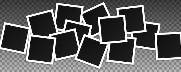 Conjunto de marcos de fotos cuadrados vector. collage de cuadros realistas aislado sobre fondo transparente. diseño de plantilla