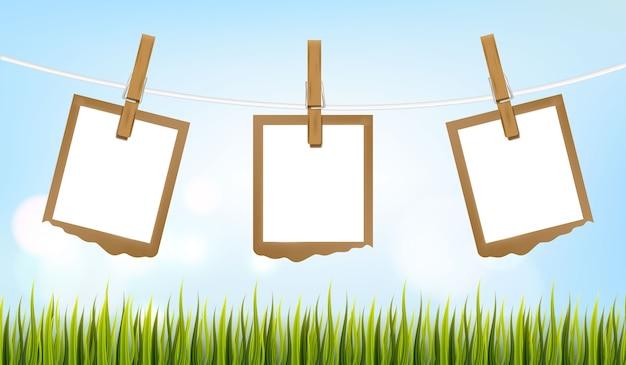 Conjunto de marcos de fotos en la cuerda con pinza para la ropa, marcos de fotos