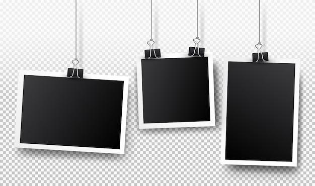 Conjunto de marcos de fotos. diseño realista detallado de la foto aislado