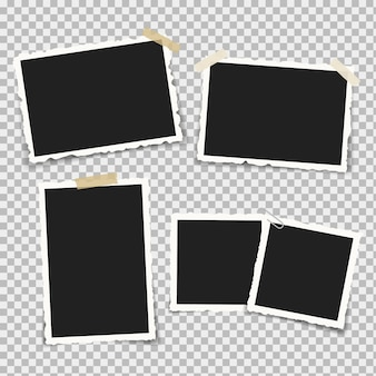 Conjunto de marcos de fotos realistas con formas retro alrededor de los bordes, en soportes y piezas de cinta adhesiva adhesiva y cinta adhesiva