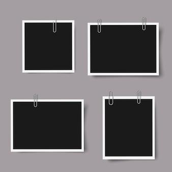 Conjunto de marcos de fotos realistas con sombras
