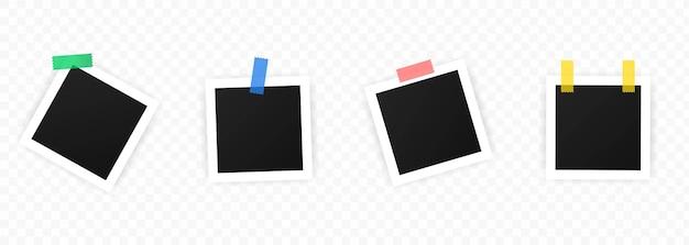 Conjunto de marcos de fotos vintage con cinta adhesiva.