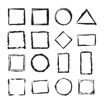 Conjunto de marcos de grunge. fondo de borde vacío. tinta en blanco y negro dibujado a mano.