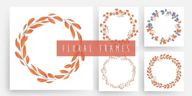 Conjunto de marcos de guirnalda floral y hojas