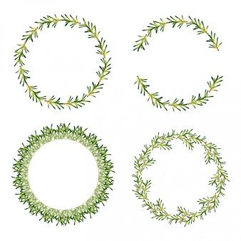 Conjunto de marcos de hojas circulares