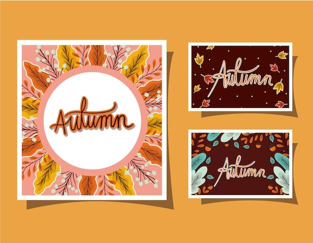 Conjunto de marcos con hojas de otoño sobre diseño de fondo amarillo, tema de temporada