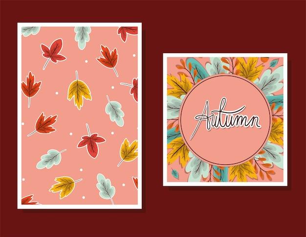 Conjunto de marcos con hojas de otoño sobre diseño de fondo marrón, tema de temporada