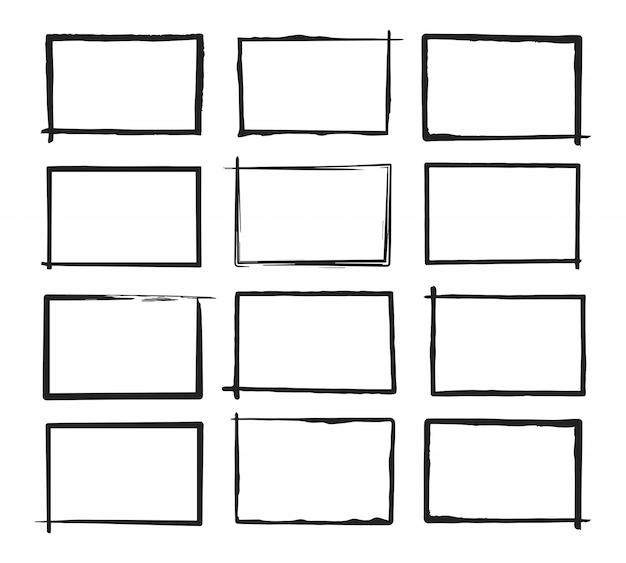 Conjunto de marcos horizontales de grunge. estilo dibujado a mano.