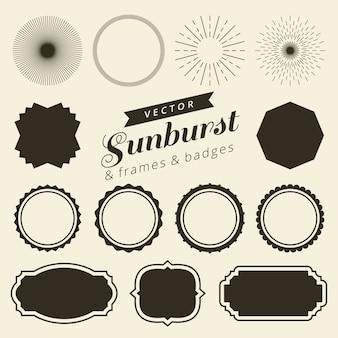 Conjunto de marcos de línea vintage y etiquetas con sunburst.