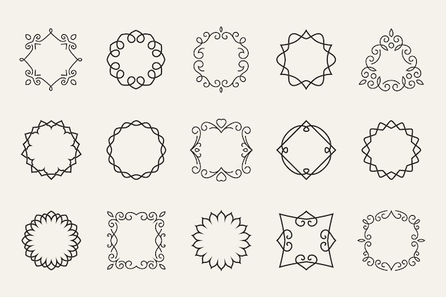 Conjunto de marcos de líneas vectoriales. contorno decorativo, forma de decoración, símbolo de contorno o sello
