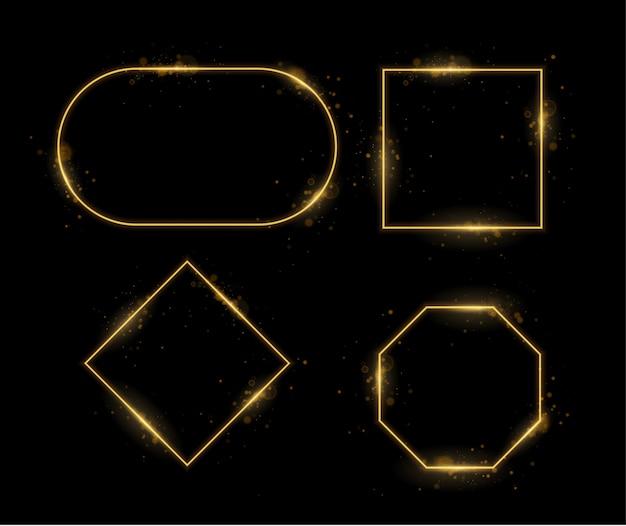 Conjunto de marcos de luz, fondo de efecto de luz transparente abstracto dorado, objetos brillantes abstractos