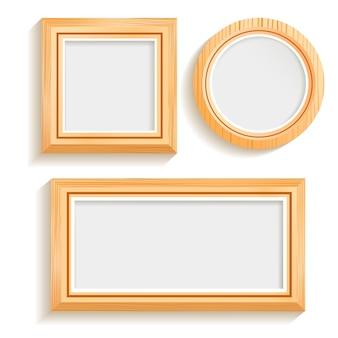 Conjunto de marcos de madera aislado