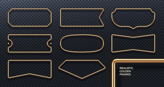 Conjunto de marcos de metal dorado realistas banners geométricos dorados 3d